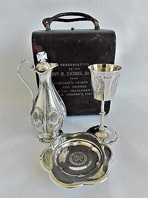 Victorian 1896 Presentation Silver Three-Piece Travelling Communion Set Cased