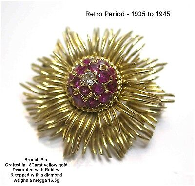 Ruby & Diamond Brooch 18Carat Yellow Gold Vintage Retro 1940s What A Sparkler!