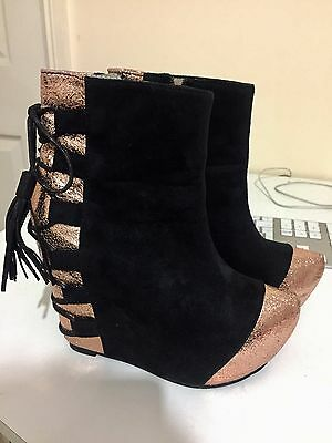 Ladies Women Funky Platform Ankle Boots Low Mid High Block Heel Shoes 37