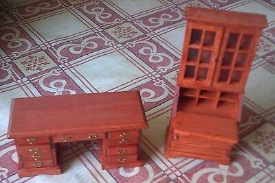 Dolls house wooden desk and bookcase/desk. 12th scale