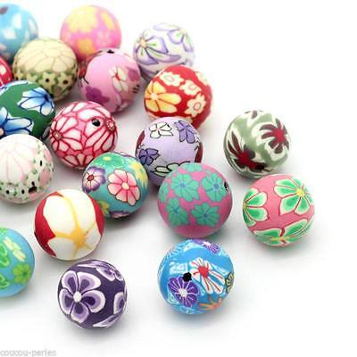 30PCs Polymer Clay Spacer Beads Pattern Printed Round Mixed 12-13mm