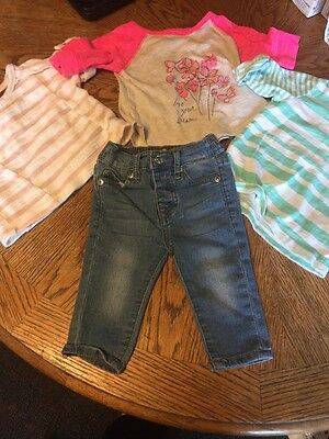 Baby Girl 3-6 Months Seven 7 For All Mankind Jeans & 3 Awesome Tee Shirts
