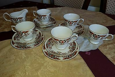 Vintage Colclough Royale (8525) Bone China Tea Set/ 4 x Trios + Milk & Extra Cup