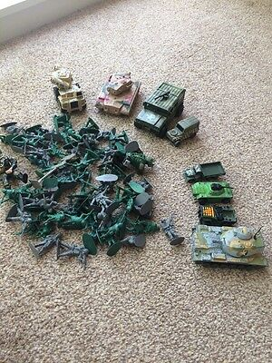 Job Lot  Army Vehicles And Soldiers 4 Metal Vehicles  4. Plastic