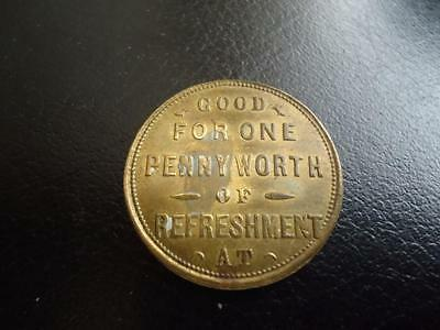 The Lincoln Coffee Palace Penny trade token brass 26mm temperance 1880s/1890s