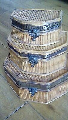 Set of three vintage wooden bamboo chinese stacking boxes with aztec design