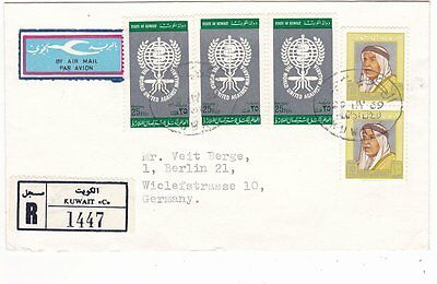 Kuwait, Airmail cover, label, reg. to Germany 1969
