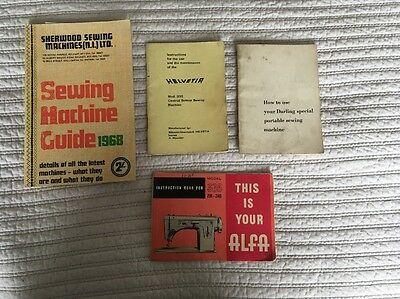 Collection Of Vintage Sewing Machine Manuals Alfa,darling Helvetia