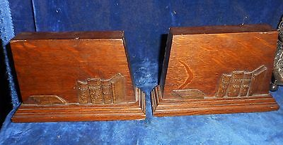 Pair Of Antique Quarter Sawed, Tiger Oak, Mission, Arts & Crafts Bookends