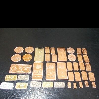 COLLECTION  COPPER AND OTHER metals INCLUDES  LARGE  bullion bars  40 #