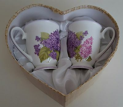 2 mug set flower motive pink/violet