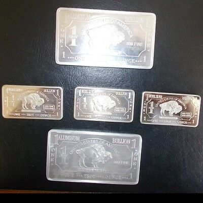 COLLECTION  aluminium nickel silver  INCLUDES  LARGE  bullion bars 5 #
