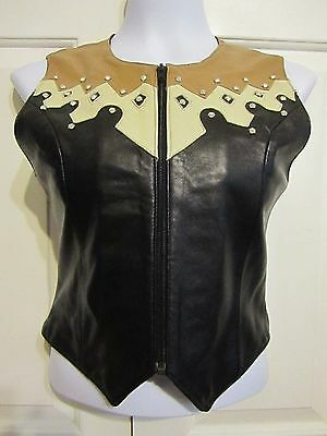 ARELLA Leather Western Equestrian Horse Show Vest Embellished Size S