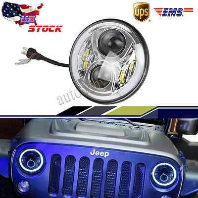 "1x 7"" 48W Silver LED Headlight H/L Beam halo Angel  Eyes for Jeep Wrangler TJ JK"