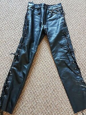 mens leather motorcycle tie side jeans size