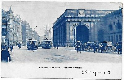 Vintage Postcard.  NEWCASTLE-ON-TYNE, CENTRAL STATION.  Used 1903.  Ref:76290