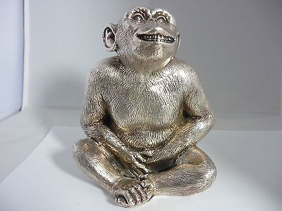 Superb Huge Heavyweight Hallmarked Sterling Silver Chimpanzee Sculpture Statue