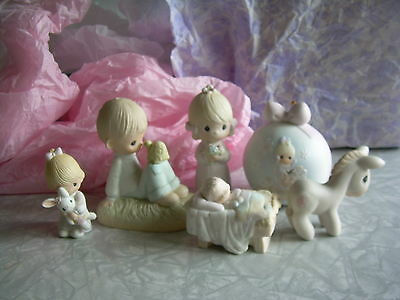 Lot of 6 Precious Moments Figurines 1977, 1995, 1983, 1981, 1982, 1986 VG Cond.