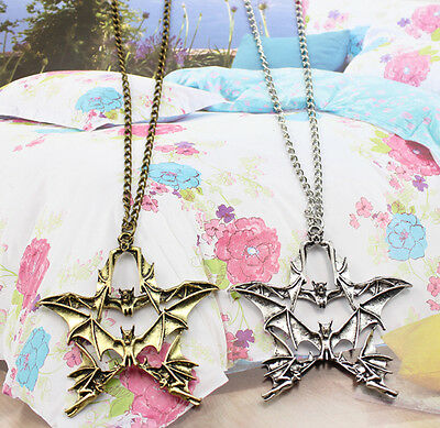 2/5/10 pcs  Retro Very lovely Good luck pentagram bat alloy necklace pendant
