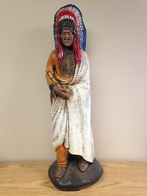 """Huge Vintage 37"""" Tall Ceramic Native American Indian Chief Statue"""