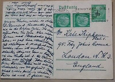 postal stationery germany 5pf uprated 1938 to UK