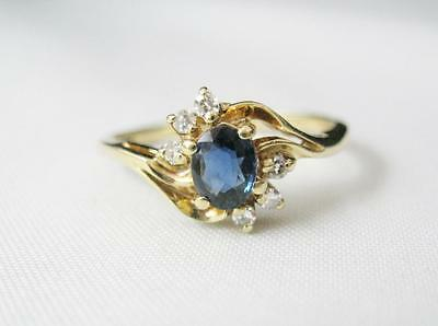 14K Yellow Gold Oval Cut Blue Sapphire & Diamond Ring September Birthstone