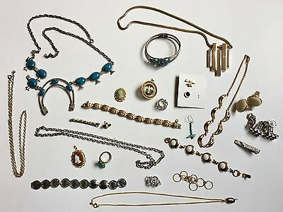 Lot of 25 pc. Jewelry /  Parts for repair or crafts  ~ Includes some turquoise