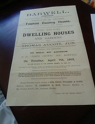 Barwell auction poster houses 1903