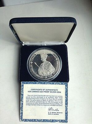 1979 Jamaica $25 Silver Proof Coin Prince Charles - Case & Certificate