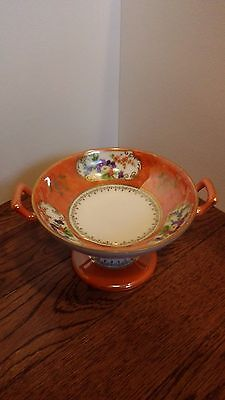 Small RS Prussia Royal Silesia Pedestal LustreTwo Handled Bowl Orange Floral