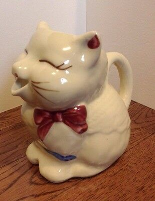 Vintage Shawnee Puss N Boots USA Creamer Hand Painted Cat Cute Bow Open Mouth