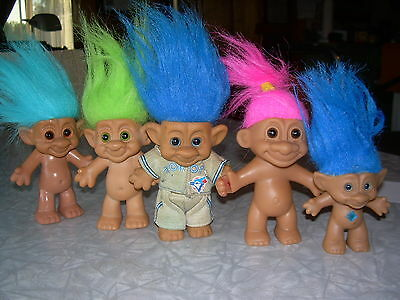 Lot of 5 Troll dolls Collectables, I wears Toronto Blue Jays Outfit) Gd Cond.