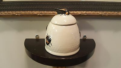 White beehive honey pot container with bee handle on lid apiary
