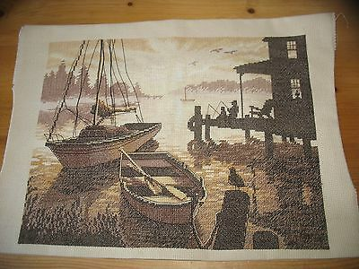 Unusual Harbour at Dusk Cross Stitch Completed Picture