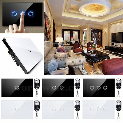 1/2/3Gang 1Way Touch Switch Wall Light Crystal Glass Panel +Remote Controller