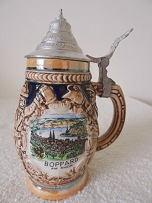 Ceramic Beer Stein with Metal Lid from Boppard Am Rein In Germany 1980s