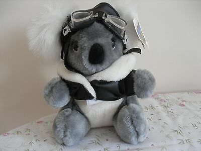 Cute cuddly koala, dressed in flying jacket and helmet with goggles