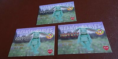 TY Beanie Baby Card - Series 1 - Hippity the mint bunny - Silver, Red & Blue