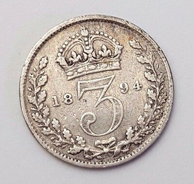 Dated : 1894 - Silver Coin - Threepence / 3d - Queen Victoria - Great Britain