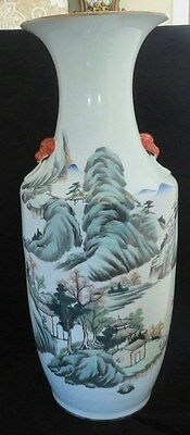 Large Chinese Asian Vase With Landscape Scenes And Calligraphy