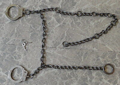 "Very Old & Rare Hiatt 54"" Belly Chain with Linked Handcuffs Model 7000 # 088813"