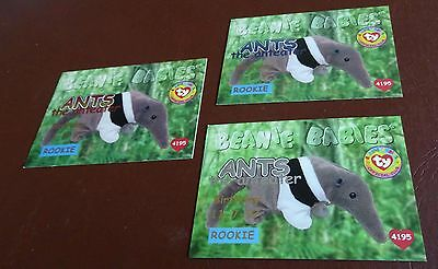 TY Beanie Baby Card - Series 1 - Ants the Anteater - Silver, Red & Blue