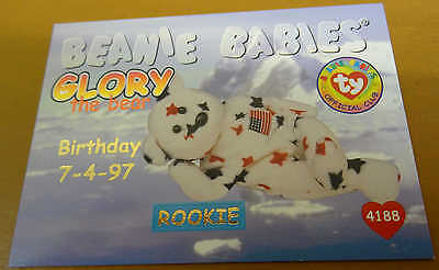 TY Beanie Baby Card - Series 1 - Glory the Bear - Red - Birthday - #4188