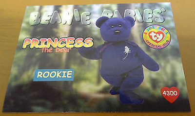 TY Beanie Baby Card - Series 1 - Princess the Bear - Rookie - Red - #4300