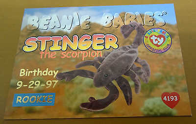 TY Beanie Baby Card - Series 1 - Stinger the Scorpion - Red - Birthday #4193