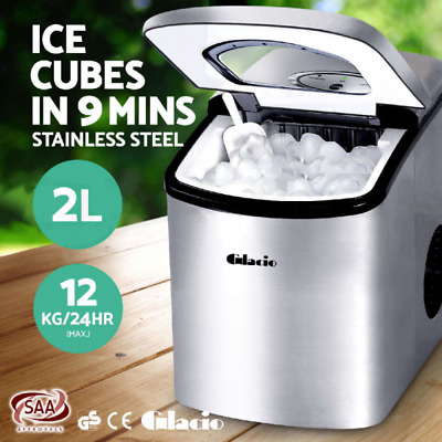 Glacio Portable Instant Ice Maker Machine Auto Fast Cube Benchtop LED 12Kg