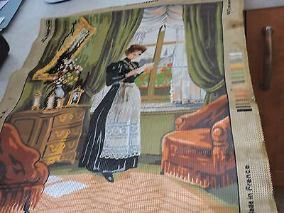 Printed tapestry canvas, lady reading letter at home, ref 142151