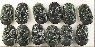 Old Chinese natural jade hand-carved statue of tweleve zodiac pendant  NO.Y1041