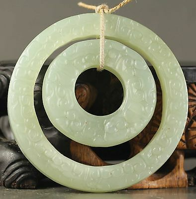 Old Chinese natural jade hand-carved double ring pendant  NO.Z312