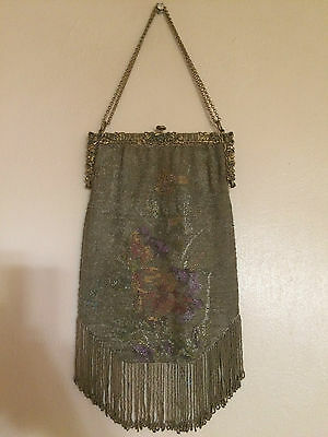 Stunning Antique Victorian Art Nouveau Heavy Beaded Purse